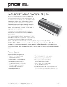 Laboratory Space Controller Cut Sheet
