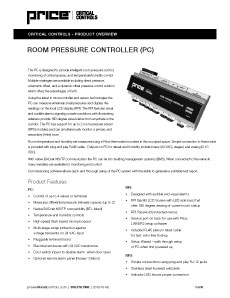 Room Pressure Controller Cut Sheet